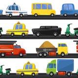 Άνευ ραφής σχέδιο μεταφορών πόλεων με τους διαφορετικούς τύπους οχημάτων και δρόμων Αστεία μεταφορά κινούμενων σχεδίων πόλεων για απεικόνιση αποθεμάτων
