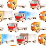 Άνευ ραφής σχέδιο μεταφορών σε ένα άσπρο υπόβαθρο στο ύφος watercolor διανυσματική απεικόνιση