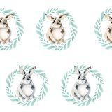 Άνευ ραφής σχέδιο με ένα χαριτωμένο κουνέλι σε ένα στεφάνι των πράσινων φύλλων Ένα αγαθό λίγο λαγουδάκι σε ένα άσπρο υπόβαθρο διανυσματική απεικόνιση