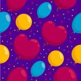 Άνευ ραφής σχέδιο με μια δέσμη των ζωηρόχρωμων μπαλονιών Στοκ Εικόνα