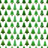 Άνευ ραφής σχέδιο με πράσινα fir-trees Στοκ Φωτογραφία