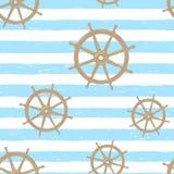 Άνευ ραφής σχέδιο με συρμένα τα χέρι λωρίδες ναυτικών και το τιμόνι Μπλε και άσπρο ριγωτό υπόβαθρο Ύφος Doodle διανυσματική απεικόνιση
