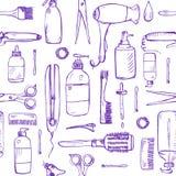 Άνευ ραφής σχέδιο με συρμένα τα χέρι προϊόντα προσοχής και προσδιορισμού λαγών ελεύθερη απεικόνιση δικαιώματος