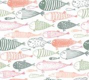 Άνευ ραφής σχέδιο με συρμένα τα χέρι χαριτωμένα ψάρια στο ύφος σκίτσων απεικόνιση αποθεμάτων