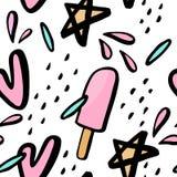 Άνευ ραφής σχέδιο με συρμένες τις χέρι απεικονίσεις του παγωτού Στοκ εικόνες με δικαίωμα ελεύθερης χρήσης