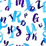 Άνευ ραφής σχέδιο με συρμένες τις χέρι επιστολές Μπλε επιστολές μελανιού που γράφονται με την ξηρά βούρτσα στο άσπρο υπόβαθρο διανυσματική απεικόνιση