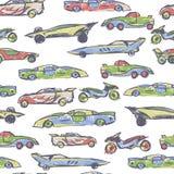 Άνευ ραφής σχέδιο με συρμένο το χέρι χαριτωμένο αυτοκίνητο Διανυσματική απεικόνιση αυτοκινήτων κινούμενων σχεδίων Τελειοποιήστε γ διανυσματική απεικόνιση
