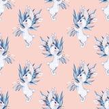 Άνευ ραφής σχέδιο με τα άσπρα κουνέλια και τα λουλούδια κινούμενων σχεδίων Στοκ Φωτογραφία