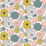 Άνευ ραφής σχέδιο με τα ανθίζοντας λουλούδια και τα μούρα ελεύθερη απεικόνιση δικαιώματος