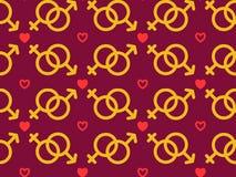 Άνευ ραφής σχέδιο με τα αρσενικά και θηλυκά εικονίδια φύλων Στοιχεία για την ημέρα του βαλεντίνου με τα σύμβολα της καρδιάς, αλυσ διανυσματική απεικόνιση