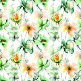 Άνευ ραφής σχέδιο με τα αρχικά λουλούδια Στοκ Εικόνα