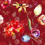 Άνευ ραφής σχέδιο με τα αρχικά λουλούδια διανυσματική απεικόνιση