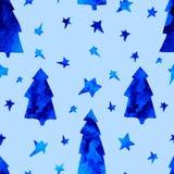 Άνευ ραφής σχέδιο με τα αστέρια, ερυθρελάτες, χιονάνθρωπος απεικόνιση αποθεμάτων