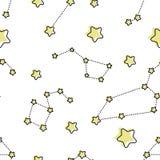 Άνευ ραφής σχέδιο με τα αστέρια και το γαλαξία κινούμενων σχεδίων διανυσματική απεικόνιση