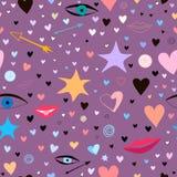 Άνευ ραφής σχέδιο με τα αστέρια, καρδιές, χείλια, βέλη, μάτια Ζωηρόχρωμος και εορταστικός ελεύθερη απεικόνιση δικαιώματος