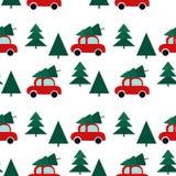 Άνευ ραφής σχέδιο με τα αυτοκίνητα και το χριστουγεννιάτικο δέντρο απεικόνιση αποθεμάτων
