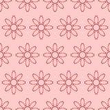 Άνευ ραφής σχέδιο με τα αφηρημένα λουλούδια των διαστιγμένων γραμμών Διανυσματικό υπόβαθρο στις σκιές του ροζ απεικόνιση αποθεμάτων