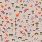 Άνευ ραφής σχέδιο με τα βελανίδια και τα φύλλα φθινοπώρου, ομπρέλες διανυσματική απεικόνιση