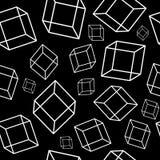 Άνευ ραφής σχέδιο με τα γεωμετρικά στοιχεία - άσπροι κύβοι στο BL απεικόνιση αποθεμάτων