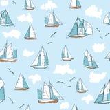 Άνευ ραφής σχέδιο με τα γιοτ, seagulls και τα σύννεφα Το επίπεδο ύφος επαναλαμβάνει το υπόβαθρο διανυσματική απεικόνιση