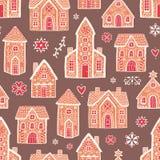 Άνευ ραφής σχέδιο με τα γλυκά εύγευστα σπίτια μελοψωμάτων και διακοσμημένος με την τήξη ζάχαρης Σκηνικό με το νόστιμο επιδόρπιο ελεύθερη απεικόνιση δικαιώματος