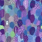 Άνευ ραφής σχέδιο με τα δέντρα και το σπίτι, ιώδη χρώματα Στοκ Εικόνα
