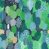 Άνευ ραφής σχέδιο με τα δέντρα και το σπίτι στοκ εικόνες