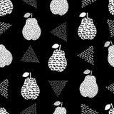 Άνευ ραφής σχέδιο με τα δημιουργικά άσπρα αχλάδια και τα τρίγωνα Στοκ εικόνα με δικαίωμα ελεύθερης χρήσης
