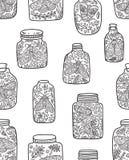 Άνευ ραφής σχέδιο με τα διακοσμητικούς λουλούδια, τους σκώρους και τις πεταλούδες στα βάζα Υπόβαθρο cector μελανιού Στοκ εικόνα με δικαίωμα ελεύθερης χρήσης