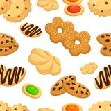Άνευ ραφής σχέδιο με τα διαφορετικά μπισκότα στη διανυσματική απεικόνιση ύφους κινούμενων σχεδίων στην άσπρη σελίδα ιστοχώρου υπο Στοκ Φωτογραφία