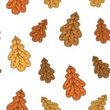 Άνευ ραφής σχέδιο με τα δρύινα φύλλα φθινοπώρου επίσης corel σύρετε το διάνυσμα απεικόνισης Στοκ φωτογραφία με δικαίωμα ελεύθερης χρήσης