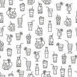 Άνευ ραφής σχέδιο με τα εικονίδια ποτών Στοκ Εικόνα