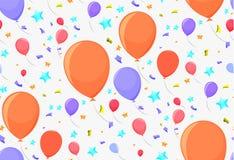 Άνευ ραφής σχέδιο με τα εορταστικά μπαλόνια Στοκ Εικόνα