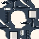 Άνευ ραφής σχέδιο με τα εργαλεία για το κατάστημα κουρέων απεικόνιση αποθεμάτων