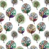 Άνευ ραφής σχέδιο με τα ζωηρόχρωμα δέντρα Στοκ εικόνα με δικαίωμα ελεύθερης χρήσης