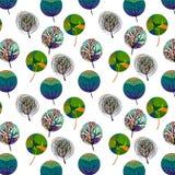 Άνευ ραφής σχέδιο με τα ζωηρόχρωμα δέντρα Στοκ φωτογραφία με δικαίωμα ελεύθερης χρήσης