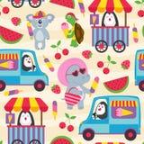 Άνευ ραφής σχέδιο με τα ζώα και το παγωτό διανυσματική απεικόνιση