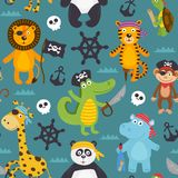 Άνευ ραφής σχέδιο με τα ζώα πειρατών ελεύθερη απεικόνιση δικαιώματος