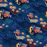 Άνευ ραφής σχέδιο με τα ζώα του ωκεανού - φωτεινά κοράλλια και τροπικά ψάρια ελεύθερη απεικόνιση δικαιώματος