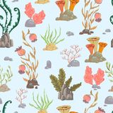 Άνευ ραφής σχέδιο με τα θαλάσσια φυτά, τα κοράλλια, το φύκι και τις πέτρες διανυσματική απεικόνιση