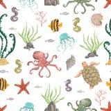 Άνευ ραφής σχέδιο με τα θαλάσσια φυτά, τα κοράλλια, το φύκι, τις πέτρες και τα ζώα Συρμένες χέρι θαλάσσιες χλωρίδα και πανίδα στο διανυσματική απεικόνιση
