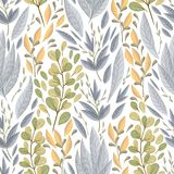 Άνευ ραφής σχέδιο με τα θαλάσσια φυτά, τα φύλλα και το φύκι Συρμένη χέρι θαλάσσια χλωρίδα στο ύφος watercolor ελεύθερη απεικόνιση δικαιώματος