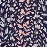 Άνευ ραφής σχέδιο με τα θαλάσσια φυτά, τα φύλλα και το φύκι απεικόνιση αποθεμάτων
