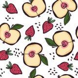 Άνευ ραφής σχέδιο με τα θερινά φρούτα ύφους doodle και τους λεκέδες μελανιού απεικόνιση αποθεμάτων