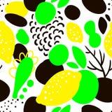 Άνευ ραφής σχέδιο με τα κίτρινα λεμόνια στο αφηρημένο ύφος Στοκ Εικόνα