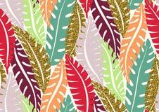 Άνευ ραφής σχέδιο με τα καθιερώνοντα τη μόδα τροπικά θερινά μοτίβα, τα εξωτικά φύλλα και τα φυτά Στοκ εικόνα με δικαίωμα ελεύθερης χρήσης