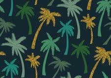 Άνευ ραφής σχέδιο με τα καθιερώνοντα τη μόδα τροπικά θερινά μοτίβα, τα εξωτικά φύλλα και τα φυτά Στοκ Εικόνα