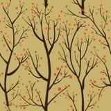 Άνευ ραφής σχέδιο με τα καφετιά δέντρα και τα κόκκινα μούρα στο κίτρινο υπόβαθρο Στοκ εικόνες με δικαίωμα ελεύθερης χρήσης