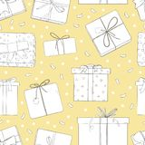Άνευ ραφής σχέδιο με τα κιβώτια δώρων Μονοχρωματική διανυσματική απεικόνιση στο ύφος σκίτσων απεικόνιση αποθεμάτων