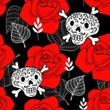 Άνευ ραφής σχέδιο με τα κρανία ζάχαρης και τα κόκκινα τριαντάφυλλα Στοκ Εικόνες